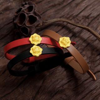 戴时光黄金貔貅转运珠手链送真皮手带