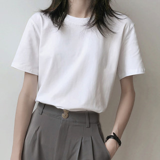 Semir 森马 爱肯2021春夏新款宽松圆领印花短袖T恤女打底衫