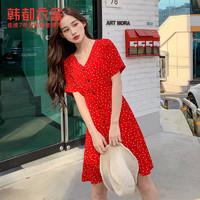 HSTYLE 韩都衣舍 夏季新款碎花法式V领红色气质连衣裙DU9538