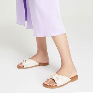 Josiny 卓诗尼 女鞋2021夏季新款时尚平底百搭蝴蝶结休闲舒适外穿女士拖鞋