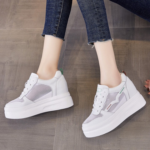 百年纪念 小白鞋厚底内增高显瘦运动休闲百搭女鞋B1026 白绿/网布 36
