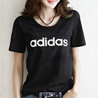 阿迪达斯 大logo 女款针织T恤休闲运动圆领短袖训练服女装 黑 s