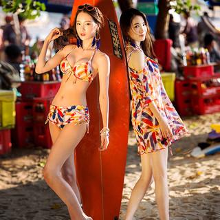 三奇泳衣女士比基尼三件套 bikini大胸小胸聚拢带钢托带胸垫性感三角比基尼游泳衣沙滩休闲泡温泉泳装 16093 花色 L