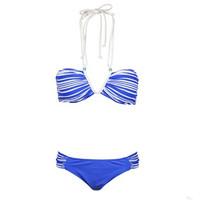 威玛斯 女式分体泳衣 泳衣比基尼 深V设计 性感海军泳衣 WMS20353 蓝色 S