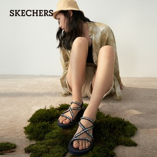 SKECHERS 斯凯奇 Skechers斯凯奇女鞋2021年夏季新款罗马凉鞋女时尚休闲平底凉鞋