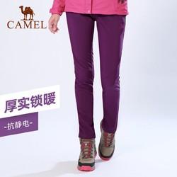 CAMEL 骆驼 户外冲锋软壳裤秋季新款时尚抓绒加厚弹力裤防风运动长