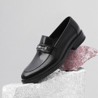 SATCHI 沙驰 2021年新品 精选牛皮革舒适透气男商务鞋正装皮鞋冲孔凉鞋
