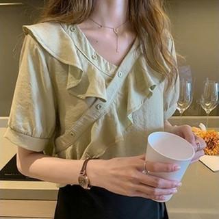 YUZHAOLIN 俞兆林 韩版设计感潮流时尚宽松V领荷叶边雪纺新款短袖女夏上衣衬衫女