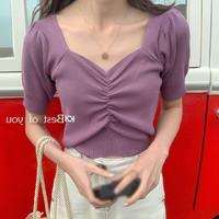 莲香妮 PkyE15 女士泡泡袖短袖T恤