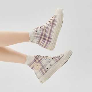 Semir 森马 21年春新品女生格子帆布板鞋女高帮鞋子女鞋