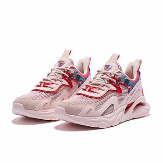 QIAODAN 乔丹 女鞋官方旗舰运动鞋女士缓震回弹休闲鞋复古跑步鞋女 XM16210261 云粉色/番茄红 40
