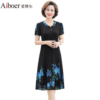 爱博尔中年妈妈夏装雪纺连衣裙高贵洋气4050岁