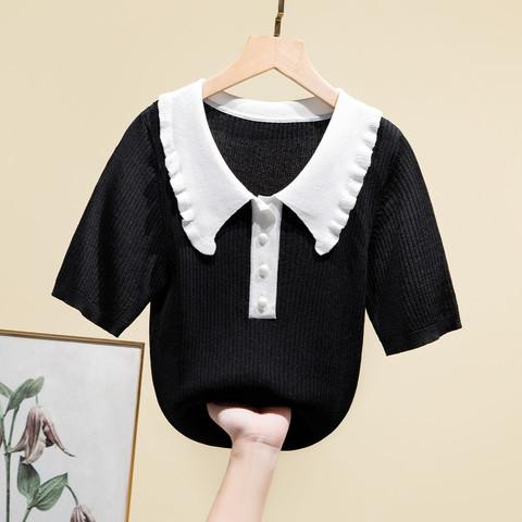 Puella 撞色娃娃领短袖针织衫女拉夏贝尔旗下2021夏季复古宽松T恤衫