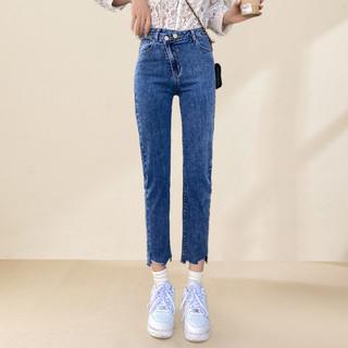 C&A春新款女款基本小脚设计感水洗牛仔裤女式高腰显瘦蓝色九分裤