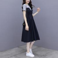 GOLDPOOL 高尔普 夏季新款休闲拼接色修身显瘦短裙女式连衣裙