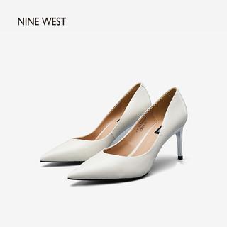 Nine West 玖熙 NINE WEST/玖熙经典牛漆皮革单鞋春季百搭尖头工作通勤鞋舒适简约高跟女鞋A112010020 米白 37