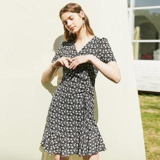 PRICH 2021年夏季新款复古港风气质修身显瘦碎花设计感连衣裙女 19黑色 165