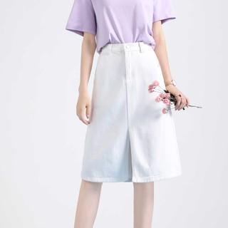 La Chapelle 拉夏贝尔 旗下新款气质高腰显瘦牛仔半身裙女式直筒开叉中长款半裙