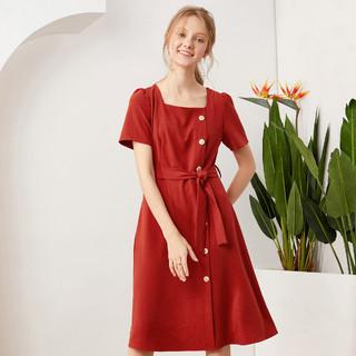 Betu 百图 betu百图2021新款复古优雅连衣裙气质方领收腰显瘦中长裙