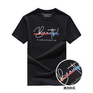 MARK FAIRWHALE 马克华菲 夏季新款时尚印花纯棉圆领男式T恤潮流简约舒适男士短袖上装T恤