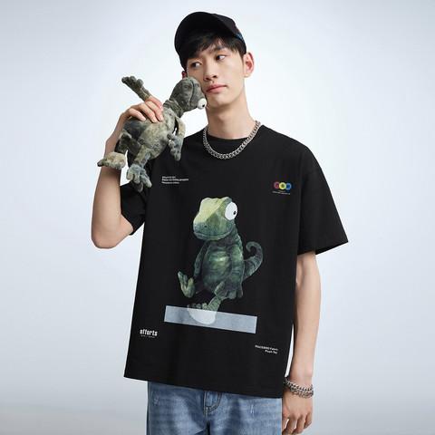 PEACEBIRD 太平鸟 夏季新品男士小怪兽印花宽松打底衫短袖T恤