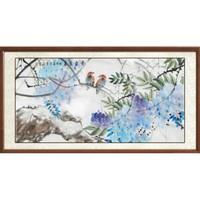 尚得堂 墨翁 国画《鸟语花香》125×65cm 宣纸 沙比利实木框-圆角原木色