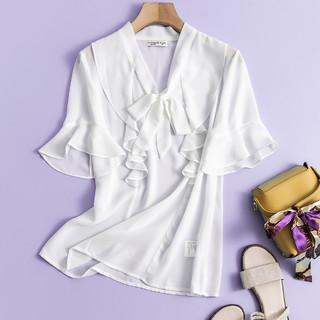 La Chapelle 拉夏贝尔 旗下女士衬衫新款淑女气质荷叶边系带雪纺衫上衣