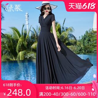 2021夏季新款长款黑色雪纺连衣裙气质V领收腰显瘦到脚踝大摆长裙