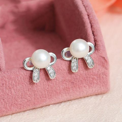 黛米 谷丝 强光淡水珍珠耳钉 925银针韩版女款耳饰耳环