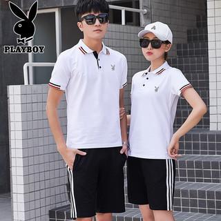 PLAYBOY 花花公子 短袖T恤男女情侣款套装男2021夏季polo衫男士休闲短袖短裤两件套 男款白色 L