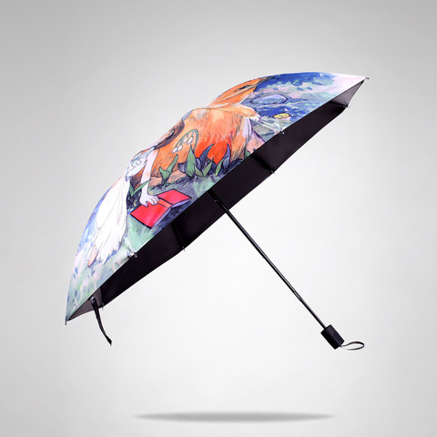羚羊早安 原创品牌插画晴雨伞女士三折太阳伞黑胶防晒伞防紫外线遮阳伞