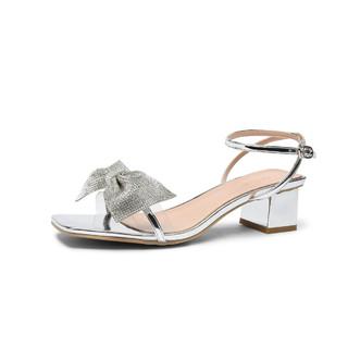 goldlion 金利来 钻石蝴蝶结凉鞋女夏季2021新款羊皮垫凉拖鞋女外穿鞋子女鞋
