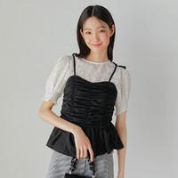 HSTYLE 韩都衣舍 时尚两件套衬衫2021夏装新款女装韩版雪纺潮短袖上衣