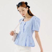 HSTYLE 韩都衣舍 条纹衬衫2021夏装新款女装韩版撞色短袖上衣