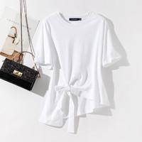 La Chapelle 拉夏贝尔 21夏季新款t恤女设计感小众圆领宽松短袖上衣女潮