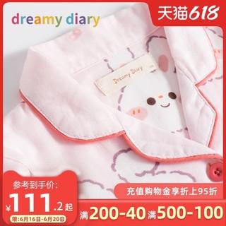 女童春夏季全棉纱布儿童睡衣女孩春秋薄款兔子女宝宝家居服套装大