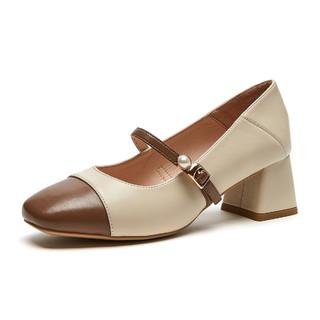 hotwind 热风 2021年春季新款女士新款潮时尚浅口粗跟一字式扣带JK休闲珍珠单鞋