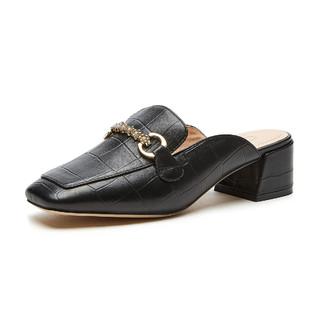 hotwind 热风 2021年春季新款女士时髦百搭饰扣点缀牛皮粗跟时尚穆勒鞋单鞋