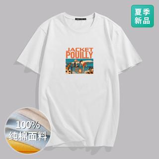 POUILLY LEGENDE 布衣传说 2021夏新品舒适圆领卡通印花多色纯棉休闲短袖T恤男士T恤