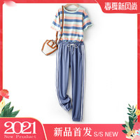 音卓 横条纹短袖+系带侧边条收脚休闲裤套装女