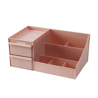 收纳猫 抽屉式化妆品收纳盒寝室桌面多层置物架梳妆台面膜口红分格整理柜 粉色双抽屉