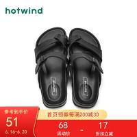 hotwind 热风 拖鞋男2021年夏季新款男士时尚简约舒适拖鞋 黑色01 44