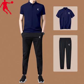 乔丹短袖男2021夏季新款官网短袖长裤两件套跑步健身房运动套装男
