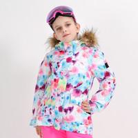 斯迈宁 儿童滑雪服冬季单板双板保暖滑雪衣防水防寒加厚雪服户外滑雪装备 迷彩 150
