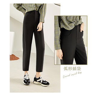 DUIBAI 对白 时尚通勤风西装休闲裤女2021夏季新款百搭裤子宽松微锥九分裤