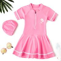卓好姿 女童儿童游泳衣公主裙式中大童防晒保暖温泉泳装可爱小孩速干连体