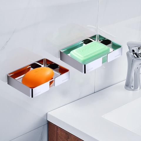 wangel 温洁尔 肥皂盒免打孔不锈钢沥水家用墙上壁挂式创意免钉防水美式皂碟