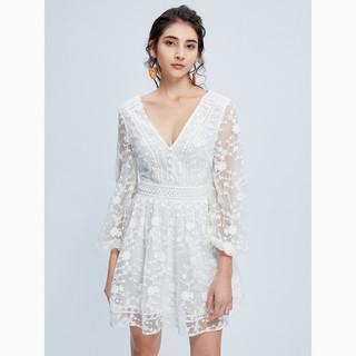 MISS SIXTY 春季绣花网纱短裙子V领高收腰长袖女士连衣裙