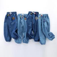 口袋虎 夏季儿童时尚潮款牛仔面料防蚊裤