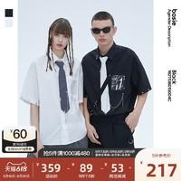 bosie BLACK bosie2021春季新款短袖衬衫男情侣带领带JK风时尚衬衣5004C